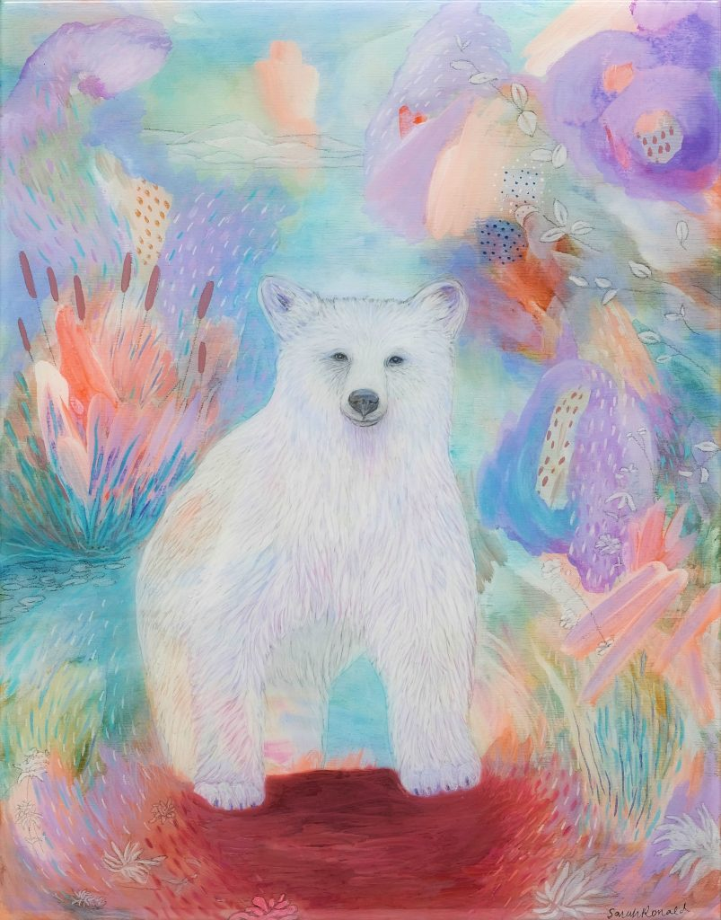 Spirit Bear, acrylic & colored pencil on wood panel with resin finish, white wood float frame $350
