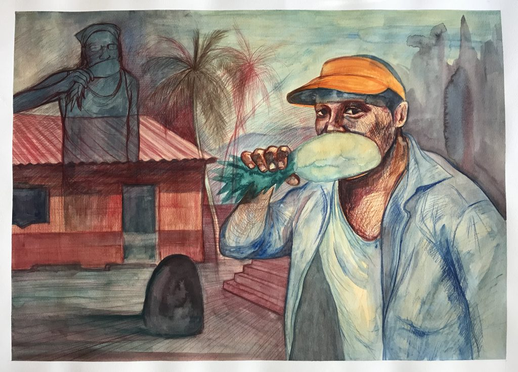 Farmers friend. Mixed media on watercolour paper,   140 Lb, 2020. (30 x 22 inches). $ 500