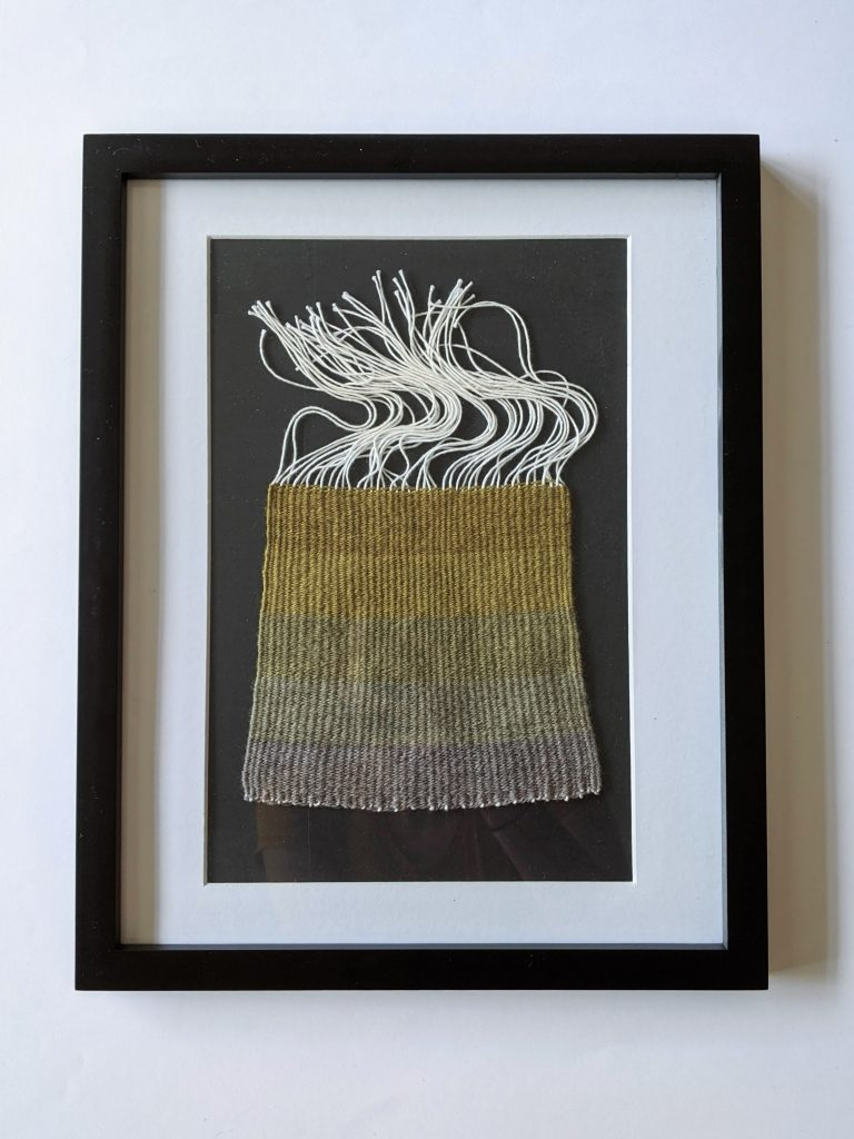 Title: Chomophobia Chromophelia Green - Grey  Dimensions: 12 x 15 inch frame  Medium: Wool dyed with natural pigments, plain weave  Price: $500