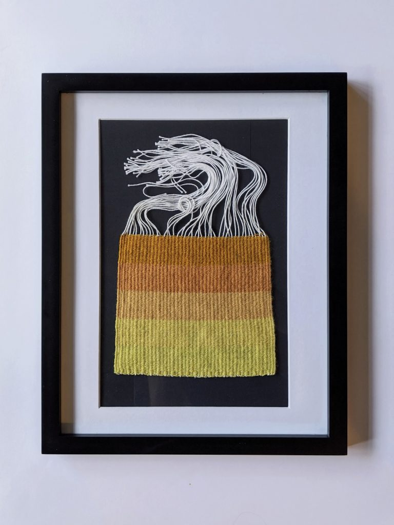 Title: Chomophobia Chromophelia Orange - Yellow  Dimensions: 12 x 15 inch frame  Medium: Wool dyed with natural pigments, plain weave  Price: $500
