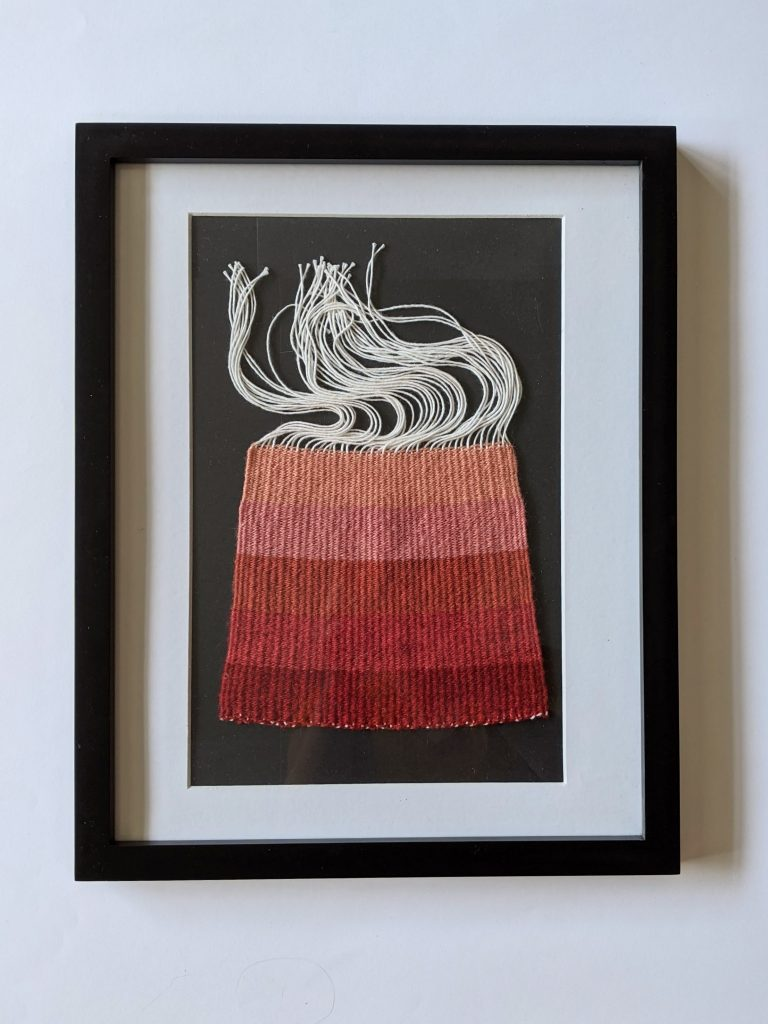 Title: Chomophobia Chromophelia Pink - Red  Dimensions: 12 x 15 inch frame  Medium: Wool dyed with natural pigments, plain weave  Price: $500