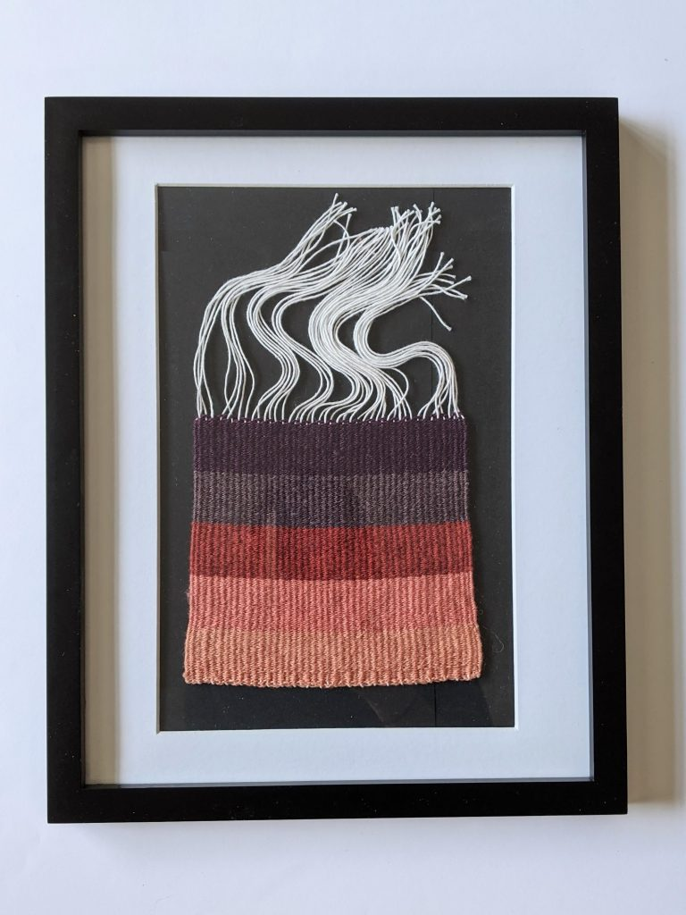 Title: Chomophobia Chromophelia Purple - Pink  Dimensions: 12 x 15 inch frame  Medium: Wool dyed with natural pigments, plain weave  Price: $500