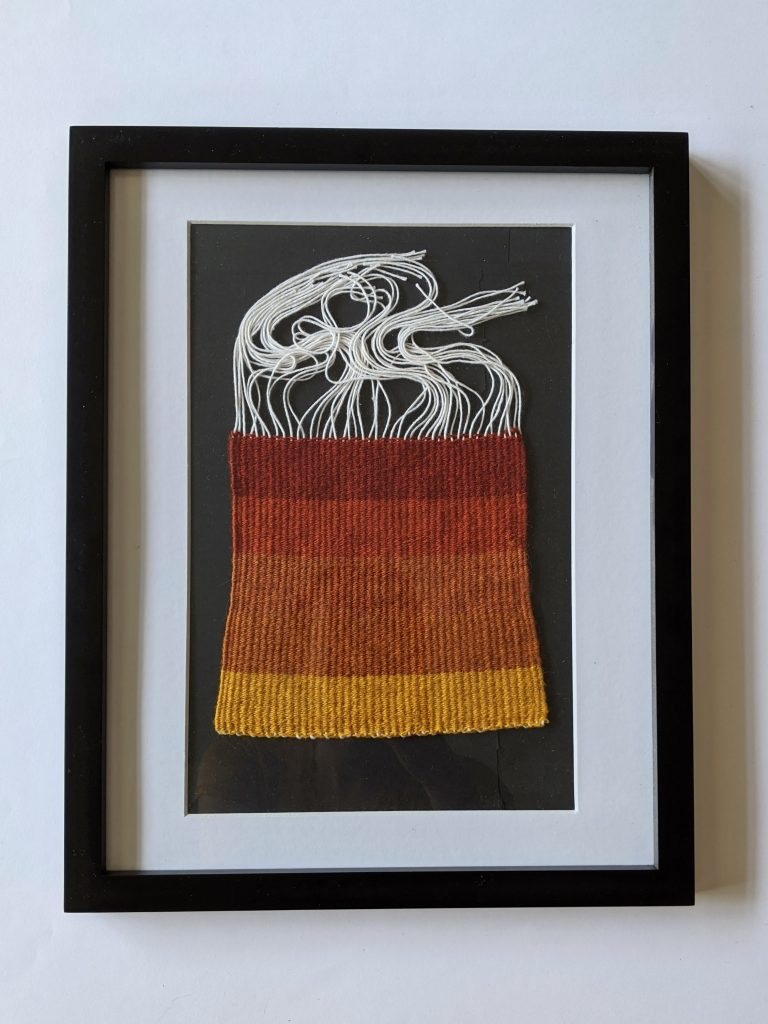Title: Chomophobia Chromophelia Red - Yellow  Dimensions: 12 x 15 inch frame  Medium: Wool dyed with natural pigments, plain weave  Price: $500