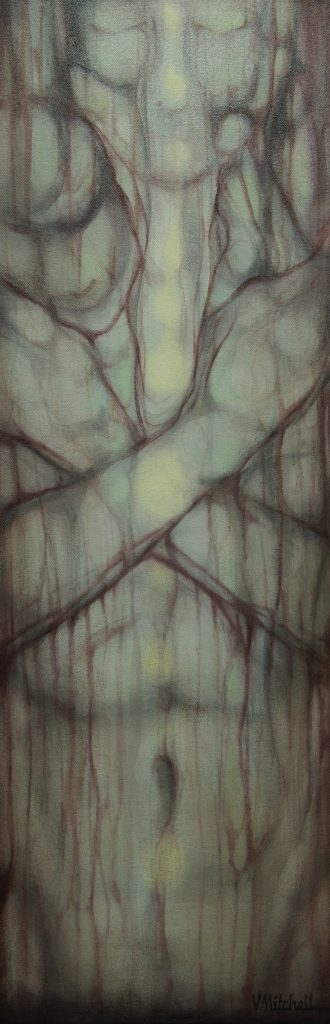 """Being, Acrylic on Canvas  10""""x 30"""", $750"""