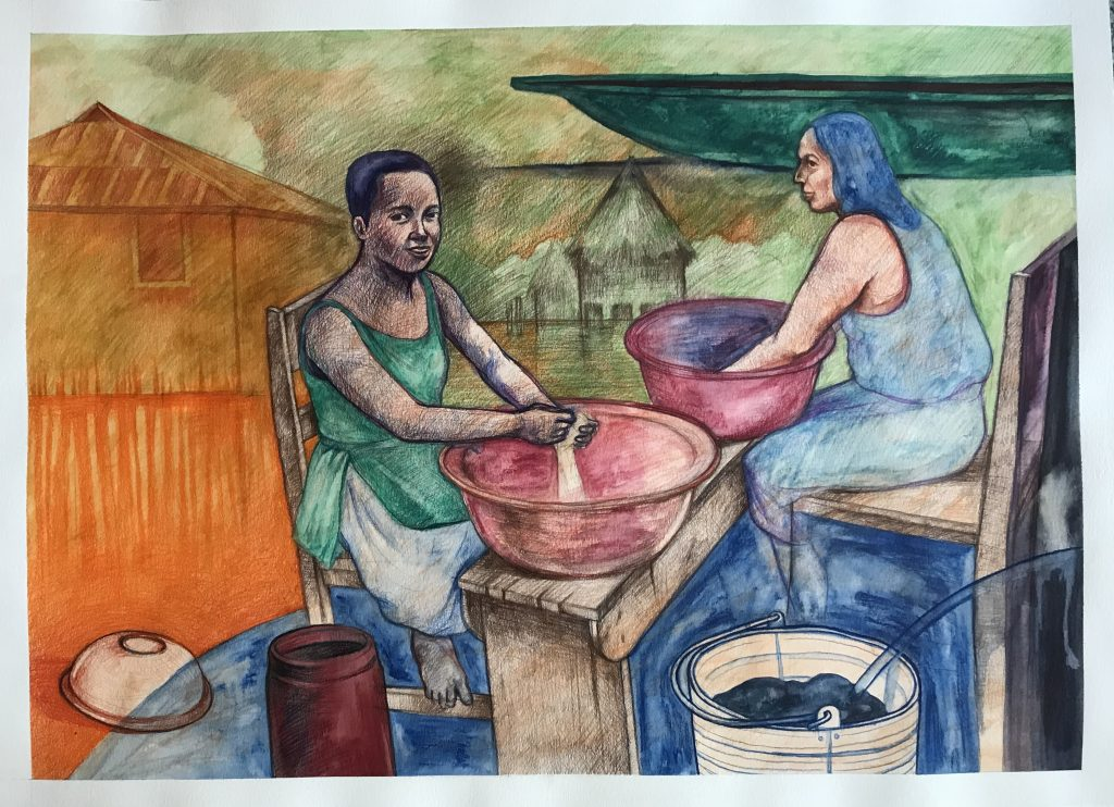 Women from the lake. Mixed media on watercolour paper,   140 Lb, 2020. (30 x 22 inches). $ 500