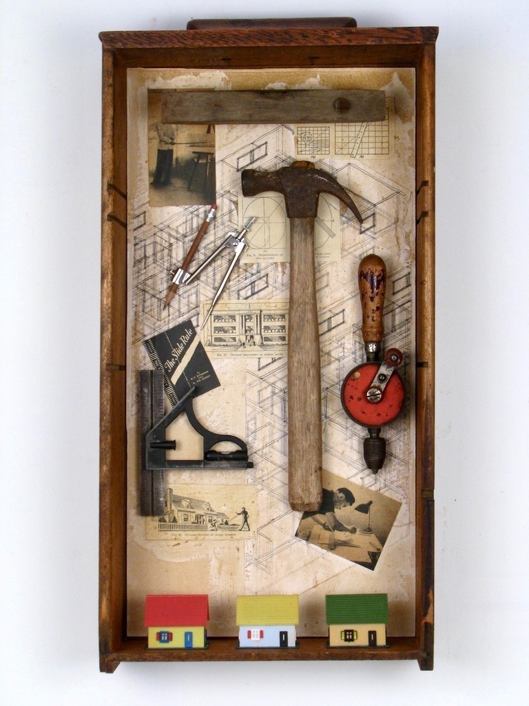 """Build a House  $550  25"""" x 13"""" assemblage"""