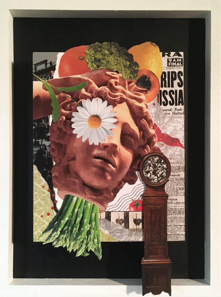 """Remains Of The Day 12"""" x 16"""" Collage and acrylic on wood panels, NFS"""