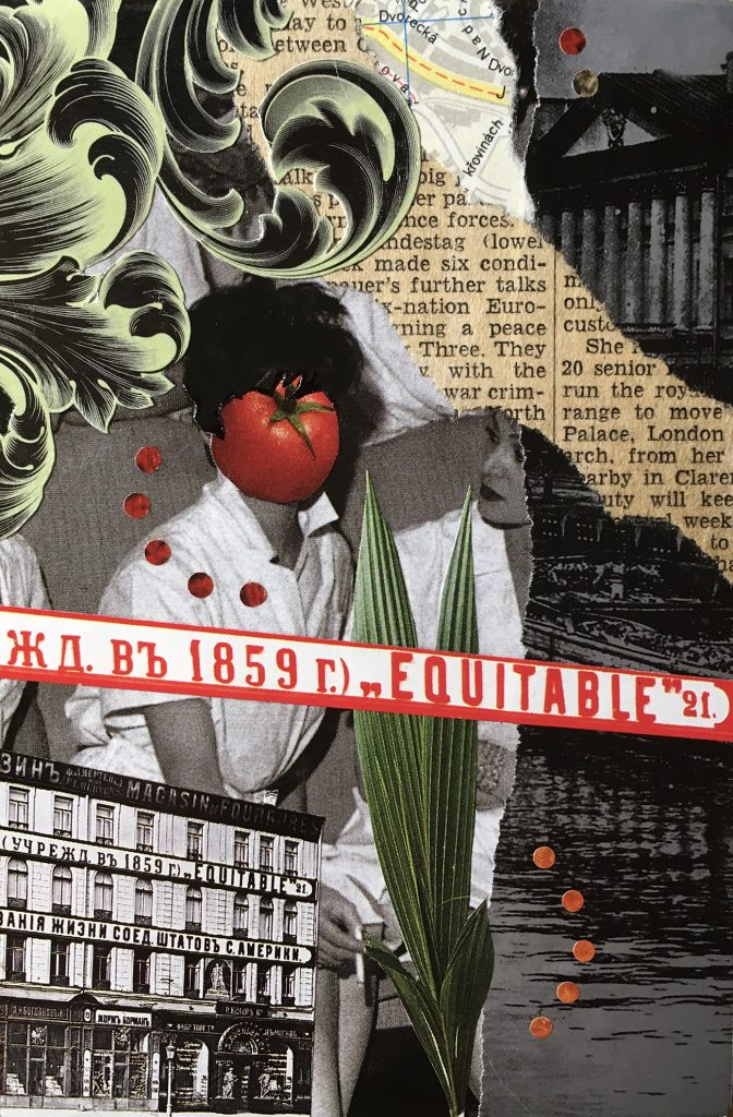 """Equitable Tomato 4"""" x 6"""" Collage on canvas panel, NFS"""