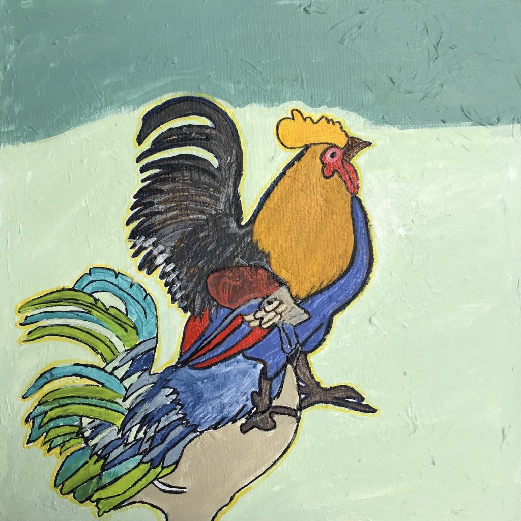 """Lenny Law """"Roosters"""" Acrylic on Canvas, 16x16"""" $150"""