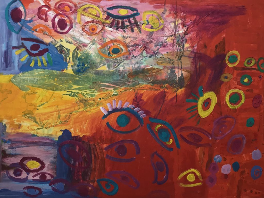 """Cindy Saul """"There Are Eyes"""" Acrylic on Canvas, 36X48"""" $325."""