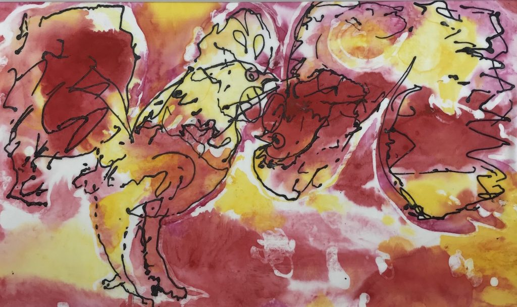 """Cindy Saul """"Rooster Memory in Pink"""" Ink on Silk, 18x24"""".$225"""