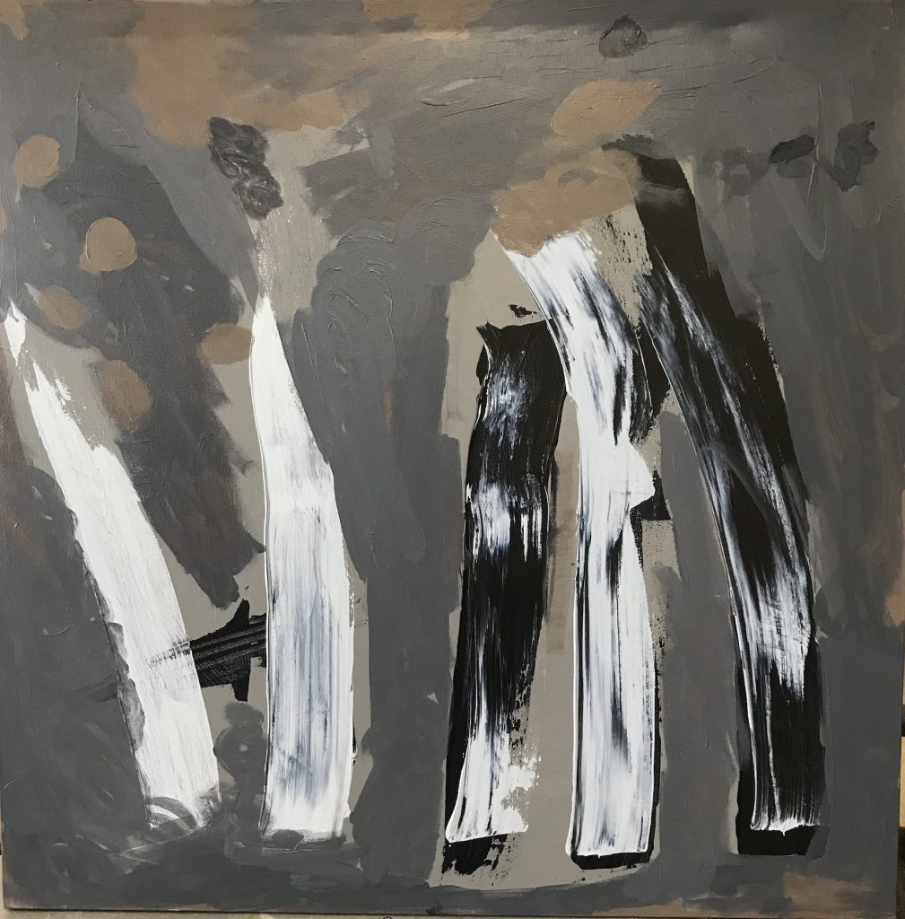 """Kevin Lee """"Grey Fires"""" Acrylic on Canvas, 36X36""""$325"""